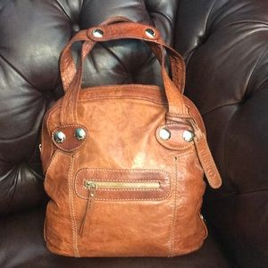 Gusto handbag large bag leather cognac Brown